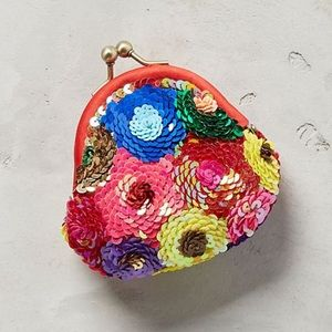 Anthropologie Sequin Floral Pouch